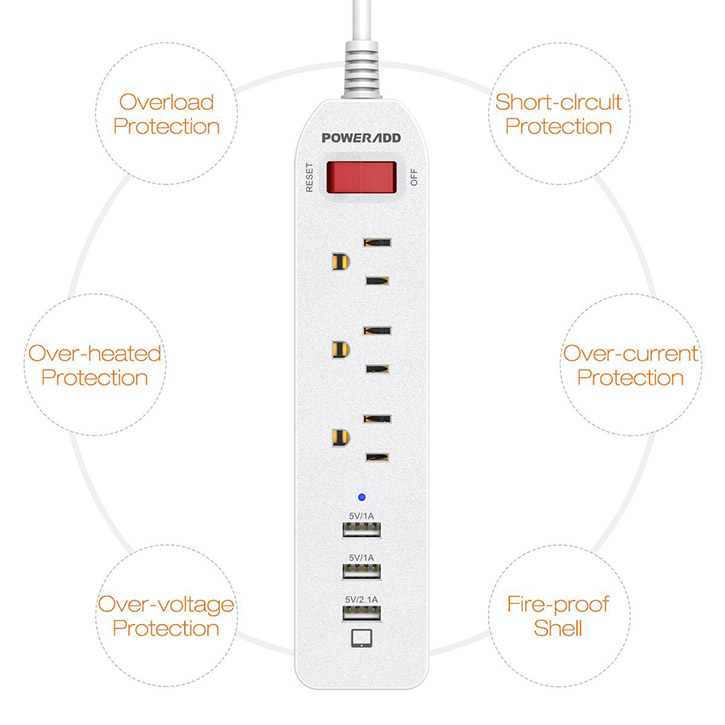 Ul Certified Surge Protector 3 Outlet Power Strip With On