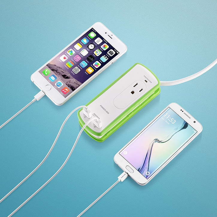 Portable Two Outlet Mini Travel Power Strip With USB Ports