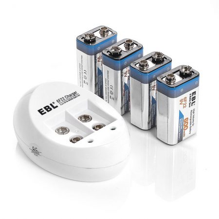9 Volt Rechargeable Battery Charger With 4 Pack 9V Batteries
