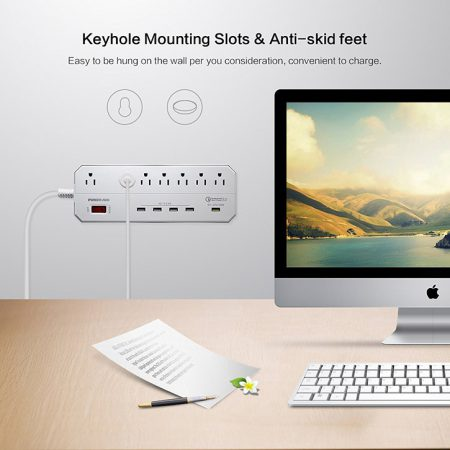7 Outlet Power Strip White Extension Lead With QC3.0 USB Port