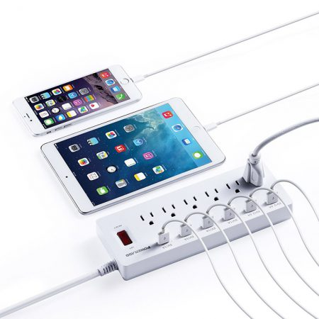White Surge Protector Electrical Power Strips