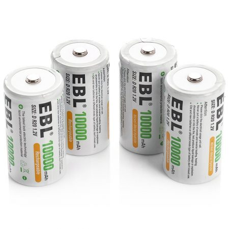 Long Life D Size NiMH Rechargeable Batteries 10000mAh
