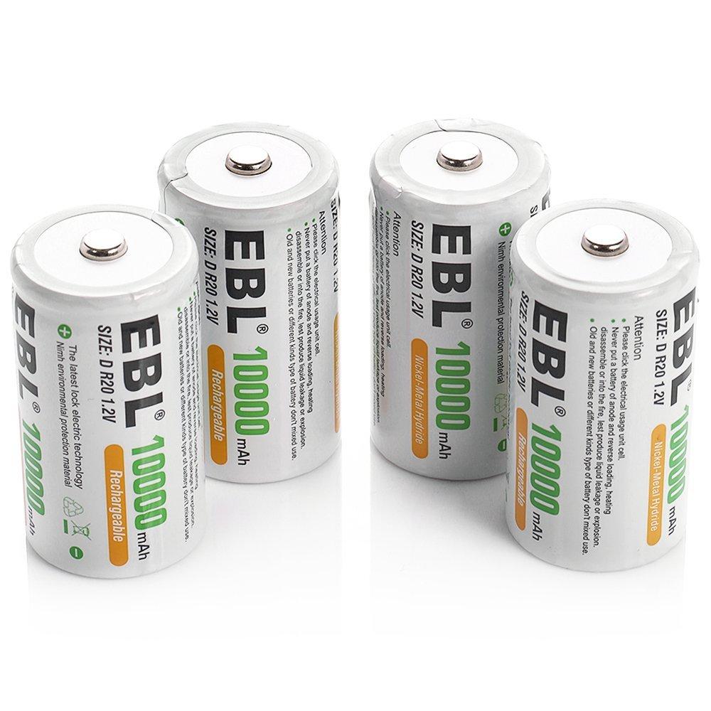 long life d size nimh rechargeable batteries 10000mah high capacity. Black Bedroom Furniture Sets. Home Design Ideas