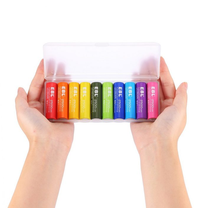 EBL Rainbow High Capacity Rechargeable AA Batteries 2500mAh