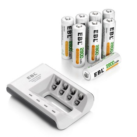 8 Pack AA Rechargeable Batteries And Charger Combo