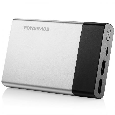 Silver Portable Charger Lightweight Power Bank Poweradd Brand