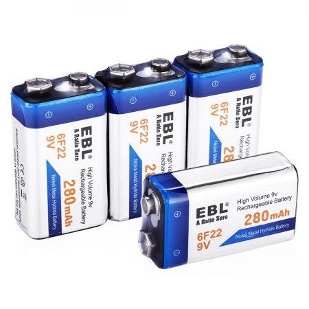 280mAh NiMH EBL Rechargeable 9V Batteries