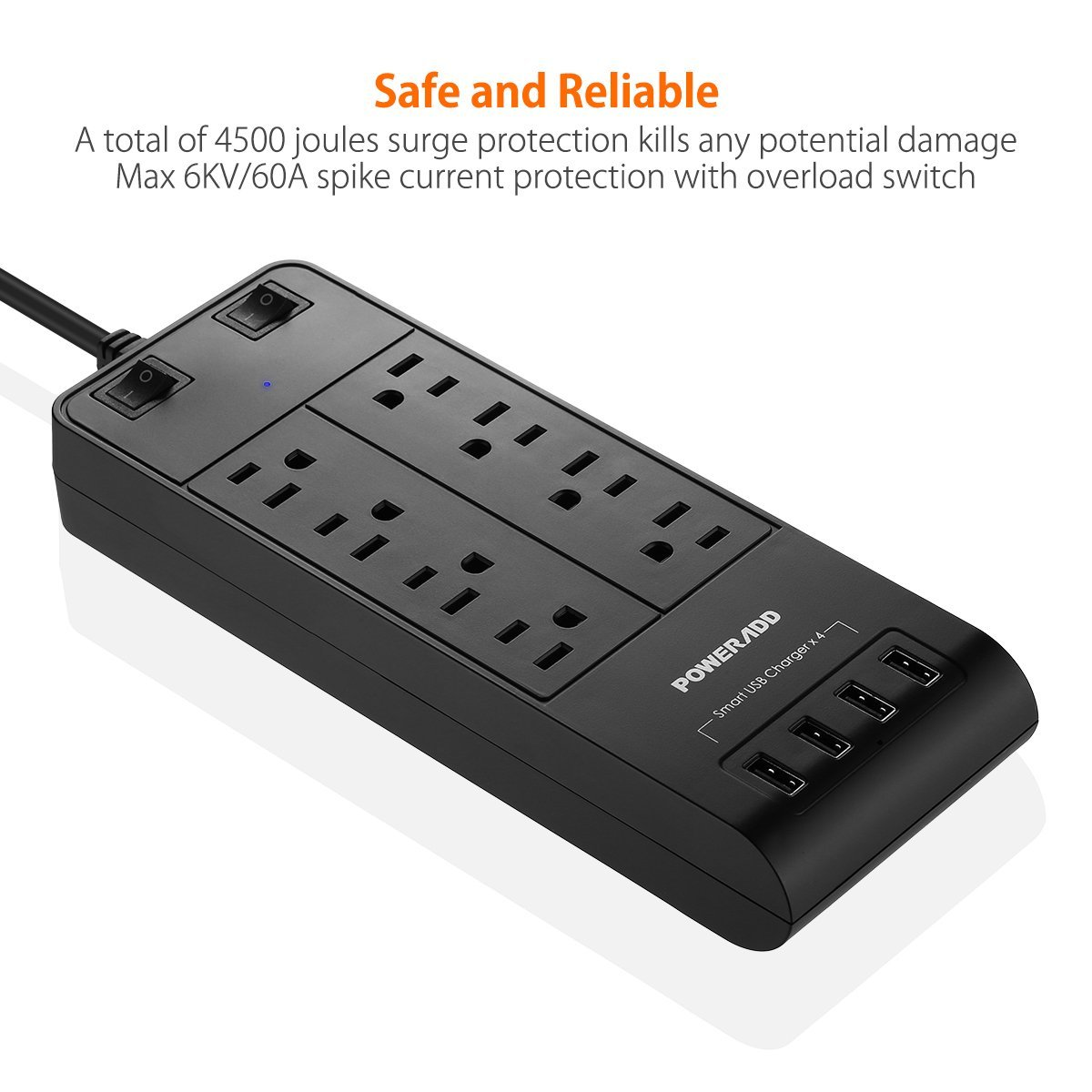 8 outlet surge protector multi plug power strip with 4 usb. Black Bedroom Furniture Sets. Home Design Ideas