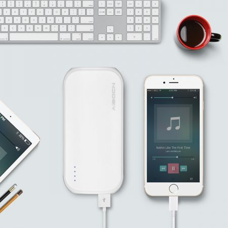 White Classic Power Bank Portable Battery Charger