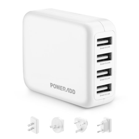 4.8A 4 Port USB Travel Wall Charger With US UK EU AU Plugs