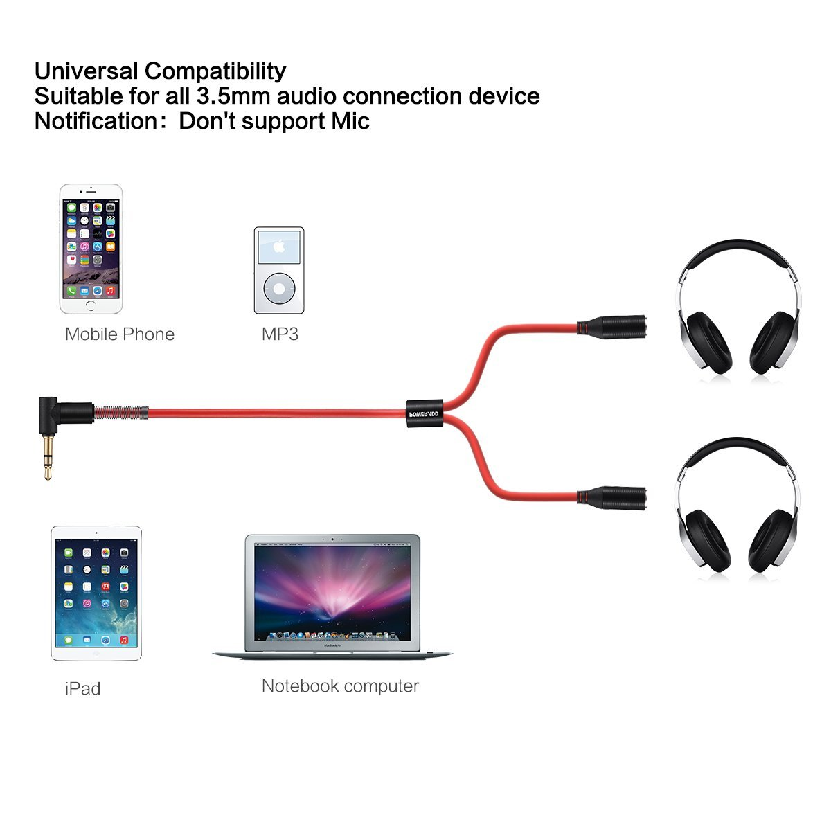 1 Male 2 Female Y Splitter Audio Aux Cable 35 Mm Jack 25ft Red Color 3 5 Wiring Sl1200 61mdh1ldhql 61xlczowsil 71f9apux9kl
