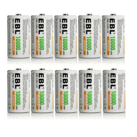 10 Pack High Performance EBL Rechargeable D Batteries