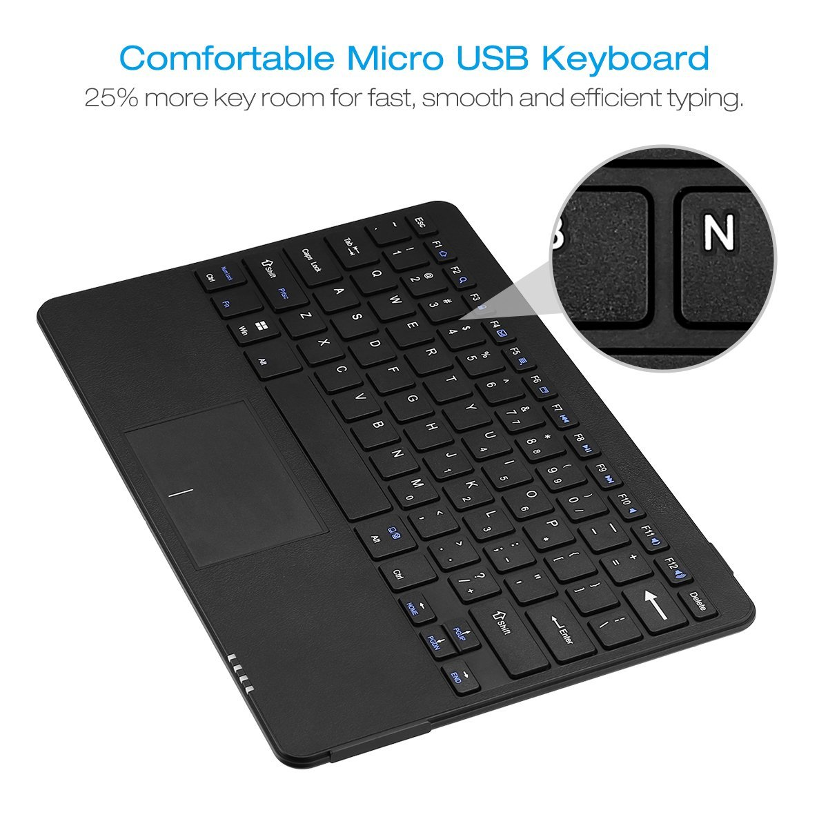 Poweradd 78 Keys Micro Usb Qwerty Keyboard With Touchpad Wired