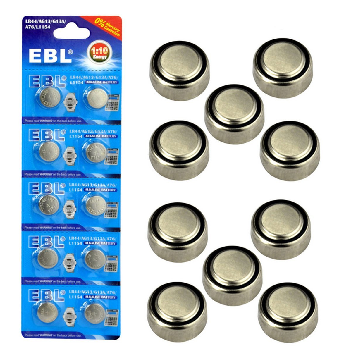 EBL Small 1.5 V Alkaline Button Cell Battery LR44 AG13 G13A A76 L1154