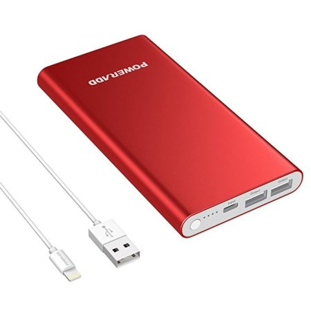 Red Power Bank Dual USB Battery Pack With 1M 8-Pin Lightning Cable