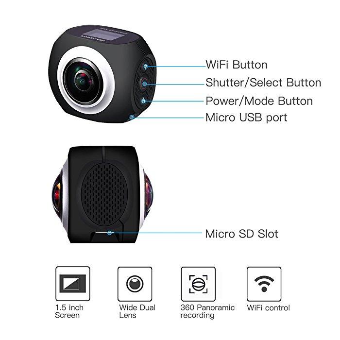 Poweradd 360 Degree Vr Panoramic Video Camera High