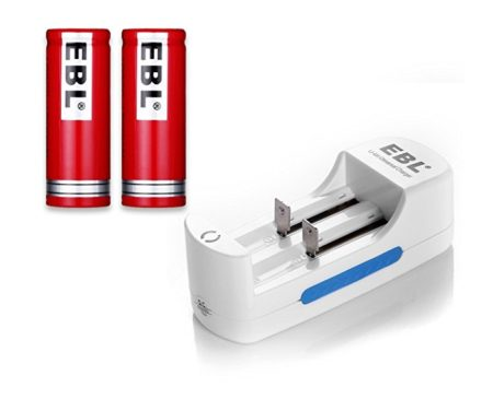 Rechargeable Lithium Ion Battery Charger With 2-Pack 18500 Li-ion Batteries