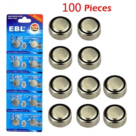 100 Packs Safe Alkaline Coin Cell Battery for Watches / Toys