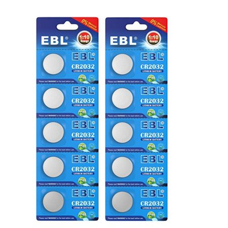 EBL 10 Pcs CR2032 Cell Watch Battery Low Self Discharge