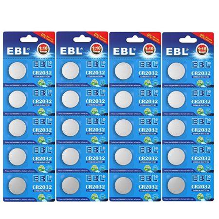 EBL DL2032 ECR2032 CR2032 Battery 3V Lithium Coin Cell