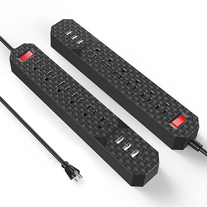 2-Pack Poweradd Black Surge Protector 6 Outlet Power Bar