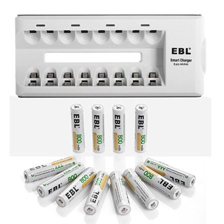 EBL Rechargeable Battery Charger Combo with 12-Count 800mAh AAA Batteries