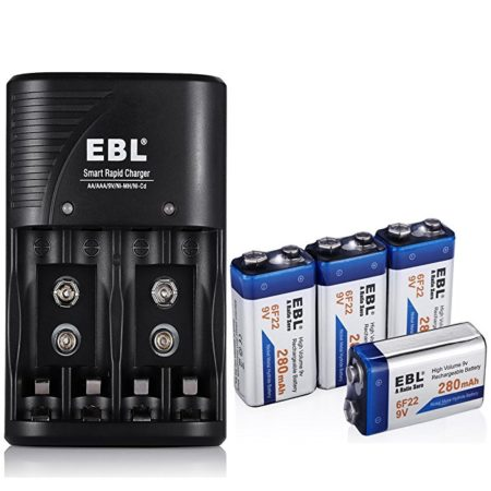 4-Pack NiMH 9V Rechargeable Battery and Charger Combo