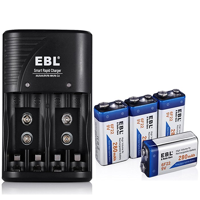 4 pack nimh 9v rechargeable battery and charger combo eco friendly. Black Bedroom Furniture Sets. Home Design Ideas