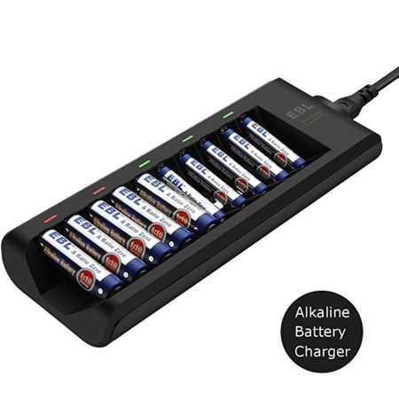 10 Slot Alkaline Battery Charger For Disposable Batteries