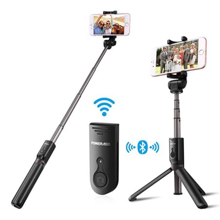 Telescopic Selfie Stick with Bluetooth Remote for Smartphones