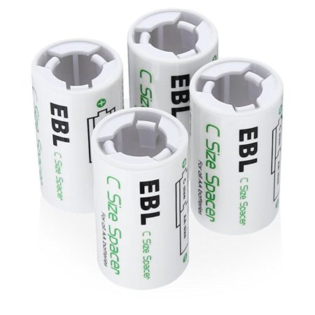 C Battery Spacers to Recycle AA Rechargeable Batteries