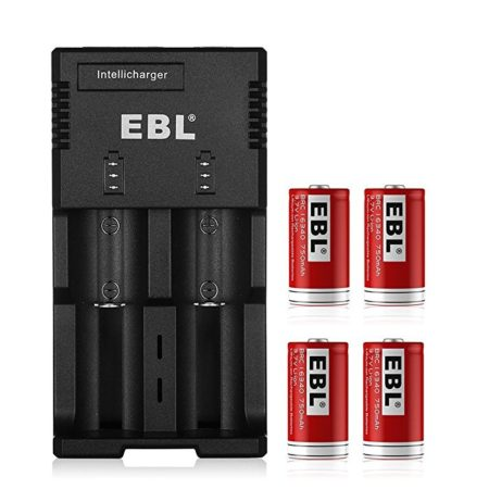 2 Bay Battery Charger and 4-Pack Li-ion 16340 Rechargeable Batteries