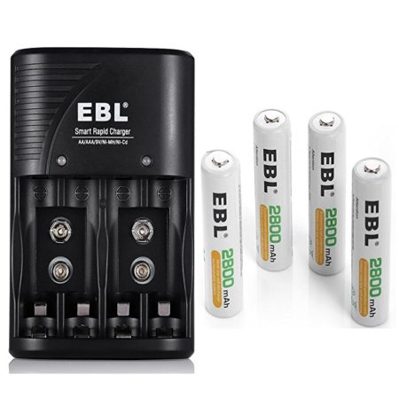EBL 4-Pack 2800mAh Rechargeable NiMH AA Batteries and Charger Combo