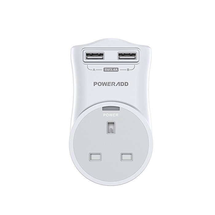 Poweradd Rotating Electrical Outlet Adapter with Dual Port USB Wall Charger