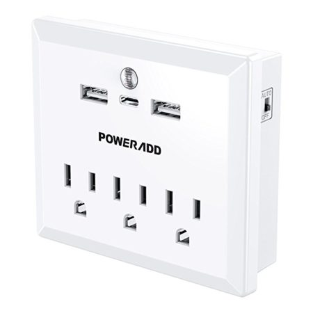Fire-resistant 3 Outlet Surge Protector with 2 USB Ports / 1 Type-C Port / Night Light