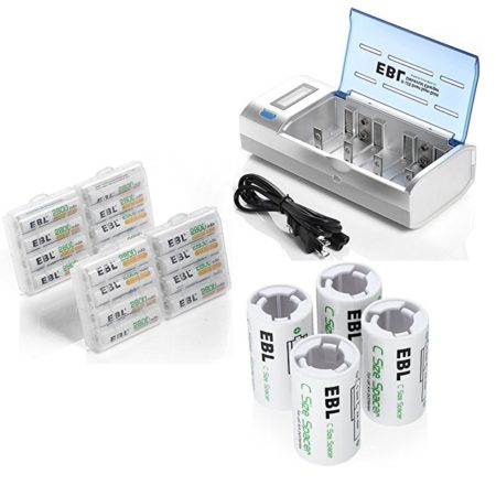 Rechargeable AA Batteries and Charger Combo with C Size Spacers