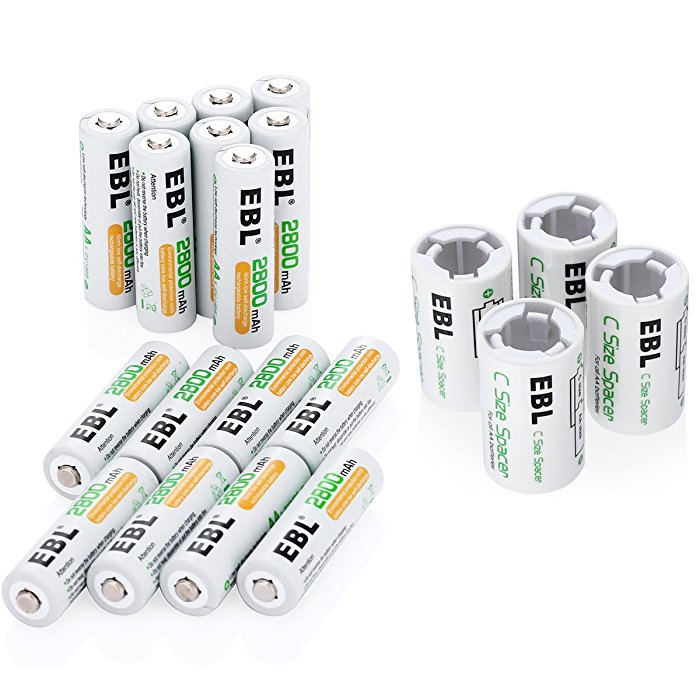 2800mAh AA Rechargeable Batteries and C Size Spacers Combo